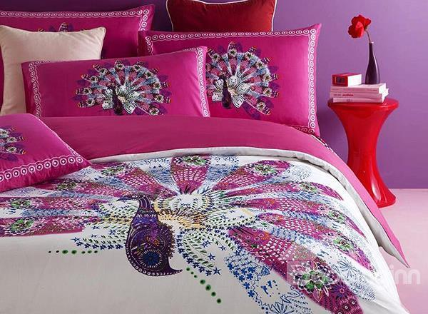 New Arrival 100%Cotton Beautiful Peacock Embroidery Duvet Cover Sets