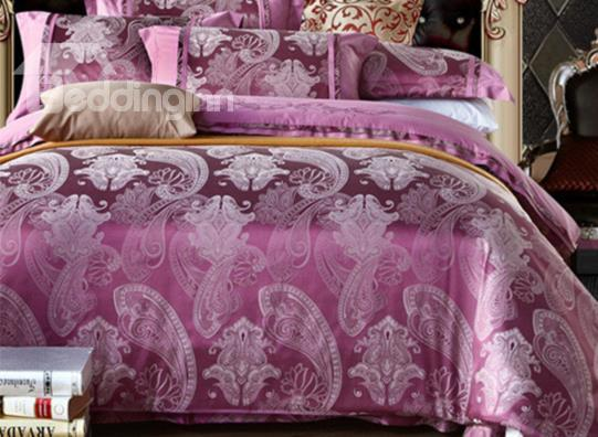 Classical Satin Paisley Flower Jacquard 4-Piece Duvet Cover Sets