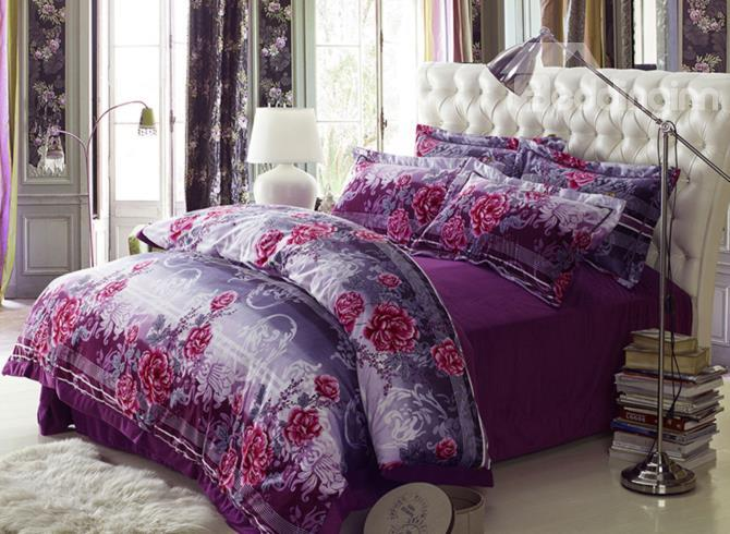 New Arrival Big Peony Flower Print 4 Piece Bedding Sets/Duvet Cover Sets