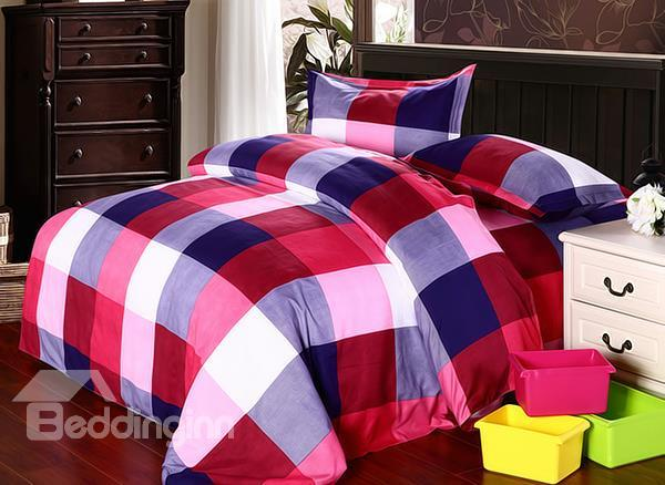 Fashion Blue And Red Grid 4-Piece Duvet Cover Sets