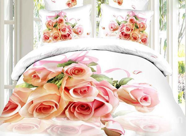 Charming Rose Bouquet Print 4-Piece Cotton Duvet Cover Sets