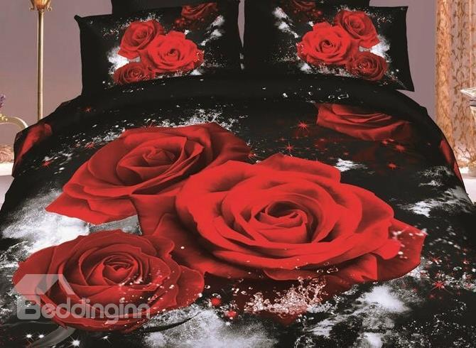 Charming 3d Red Roses With Black Color 4 Piece Bedding Sets