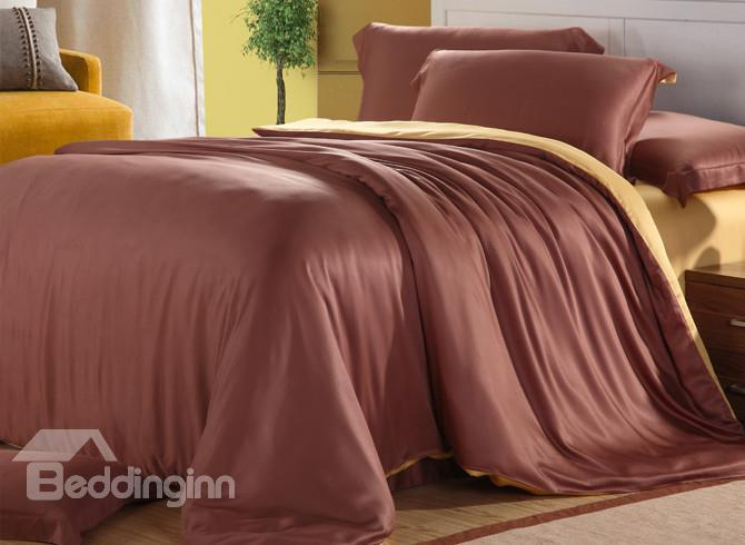 High Quality Coffee Color 4 Pieces Tencel Bedding Sets