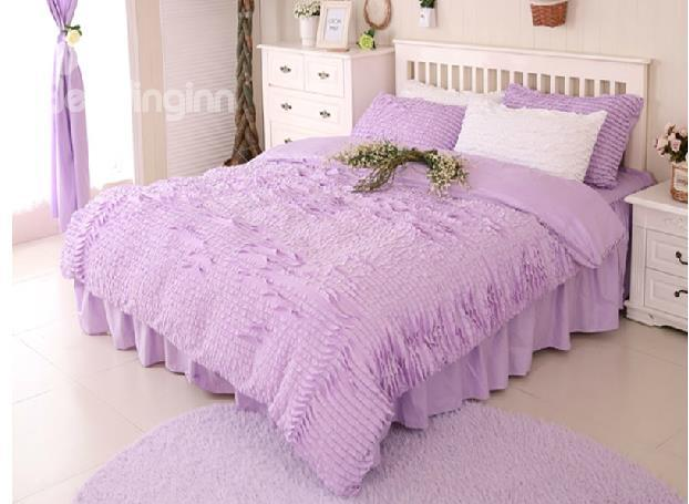 New Arrival Purple Draped Princess Style 4-Piece Cotton Duvet Cover Sets