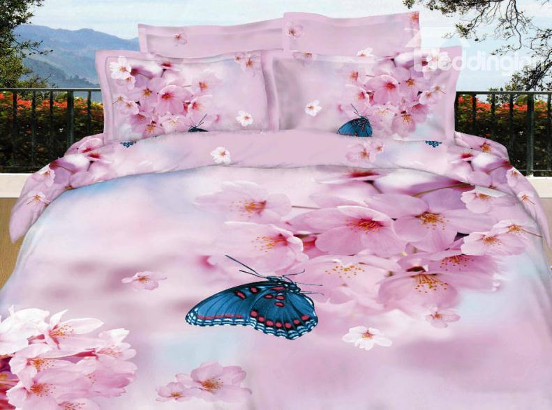 Lovely Pink Pear Blossom With Butterfly 3d Print 4 Piece Bedding/Duvet Cover Sets