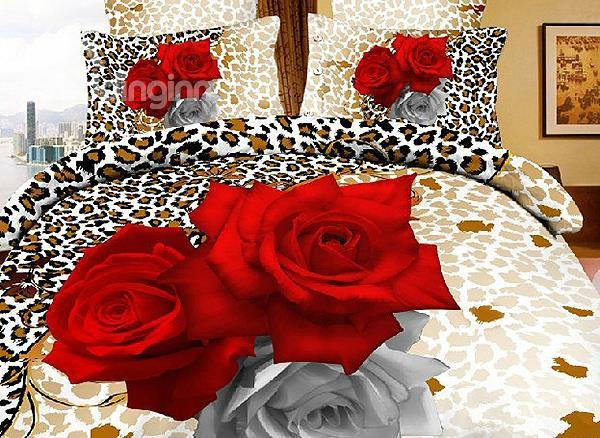 Sexy Leopard With Red Roses Print 4 Piece Bedding Sets
