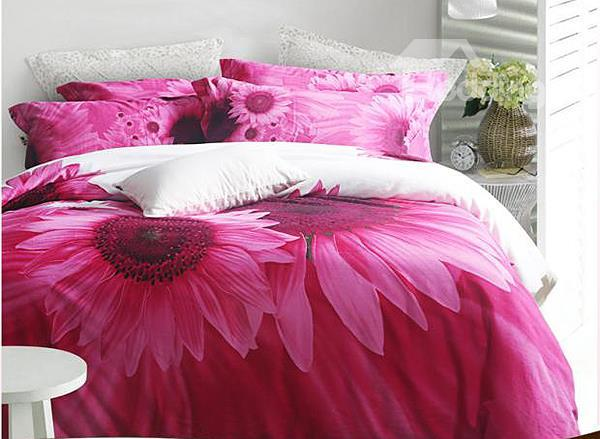 Charming Sunflower Print 4-Piece 100%Cotton Duvet Cover Sets