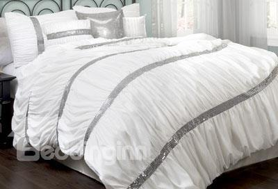 Top Quality Charming White Temptation 4-Piece Duvet Cover Sets