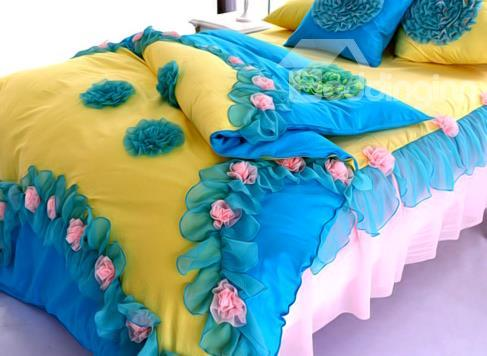 New Arrival 100%Cotton Princess Flower 4 Piecesbedding Sets