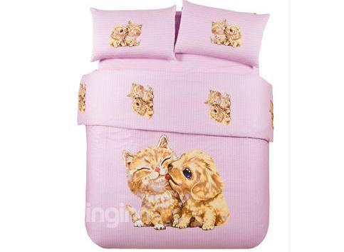 New Arrival Fantastic Cat And Dog Hand-Painting Bedding Sets