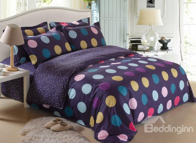 100%Cotton Colorful Dots Print Purple 4 Piece Bedding Sets