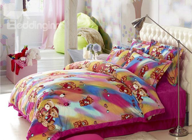 Cute Couple Bears Print Sandedcloth Material 4 Piece Bedding Sets