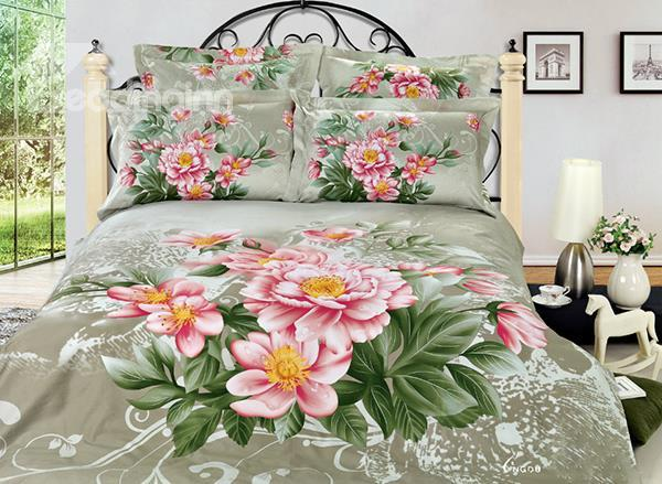 Secret Garden Flower Print 4-Piece Cotton Duvet Cover Sets