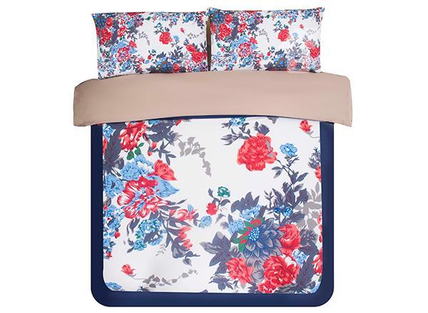Comfortable Beautiful Flower Print 4-Piece Polyester Duvet Cover Sets