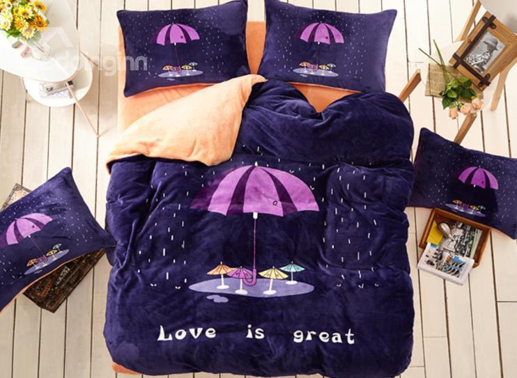 Umbrella And Word Of Love Is Great Print 4-Piece Coral Fleece Duvet Cover Sets