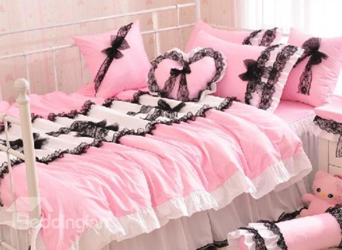 New Arrival 100%Cotton Princess Style Beautiful Lace Pink 4 Piece Bedding Sets In Promotion