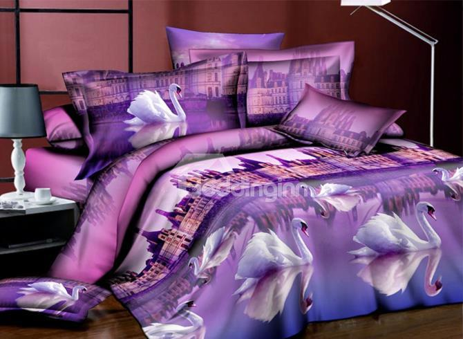 Purple Building And White Swans Print 4-Piece 3d Polyester Duvet Cover Sets