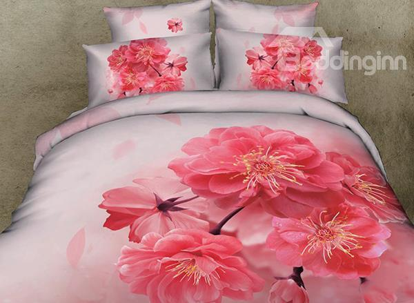 Comfortable Red Peach Blossom Print 4-Piece Cotton 3d Duvet Cover Sets