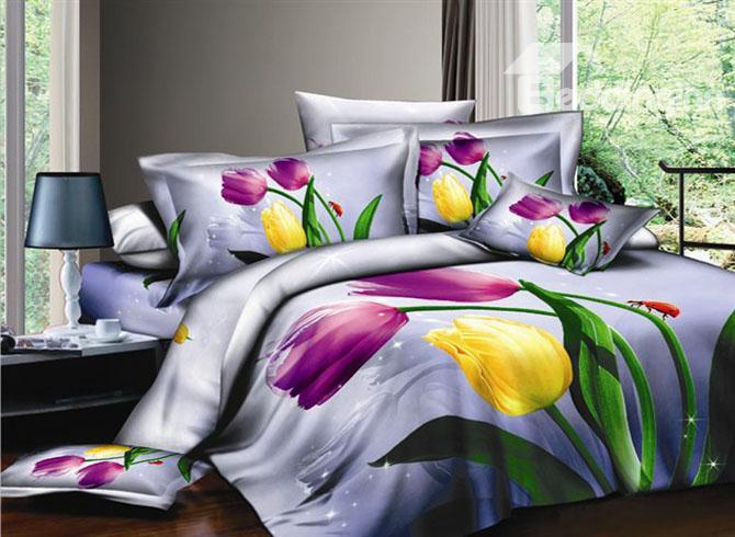 Purple 4 Piece Cotton Bedding Sets With Colorful Tulips 10489907)