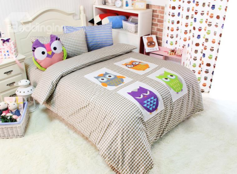 Four Different Color Owls Print 4-Piece Checks Cotton Duvet Cover Sets