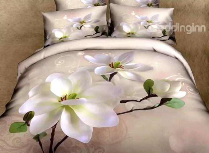 Fragrant White Magnolia Print 4-Piece 3d Duvet Cover Sets