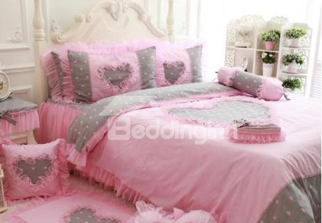 Beautiful Floral Lace Pink Princess 4 Piece Bedding Sets
