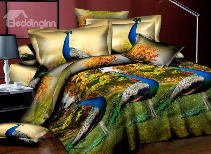 Gorgeous Peacocks Standing In Forest Print 4 Piece Bedding Sets