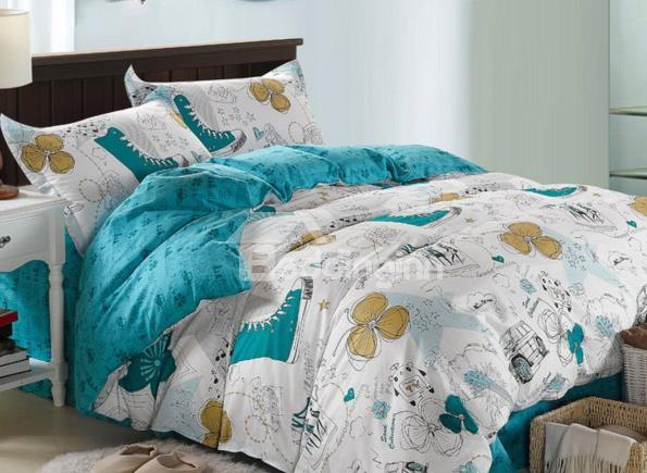 Fashionable Scrawl Print 100%Cotton 4 Piece Bedding Sets