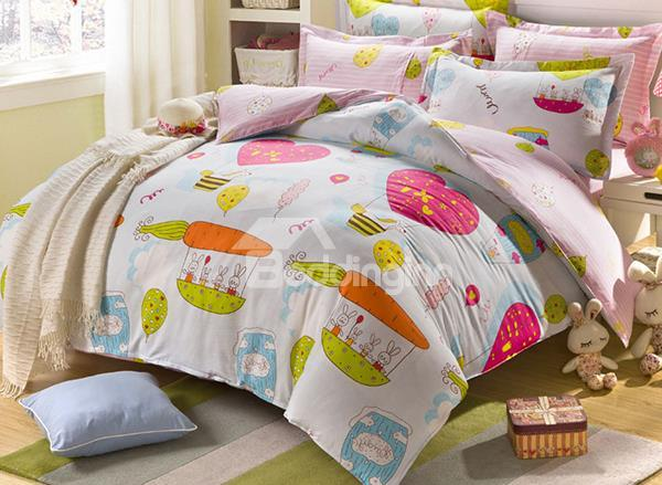 So Cute Cartoon Rabbit And Carrot Print 4-Piece Cotton Duvet Cover