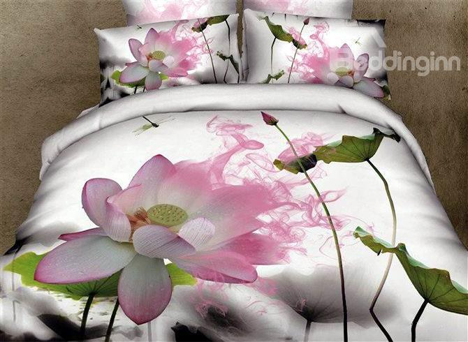 Fragrant Summer Lotus 4 Piece Bedding Sets