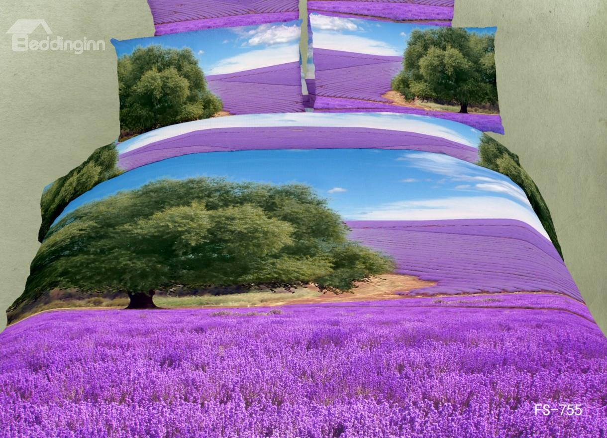 New Arrival Green Tree And Lavender Fields Print 3d Bedding Sets