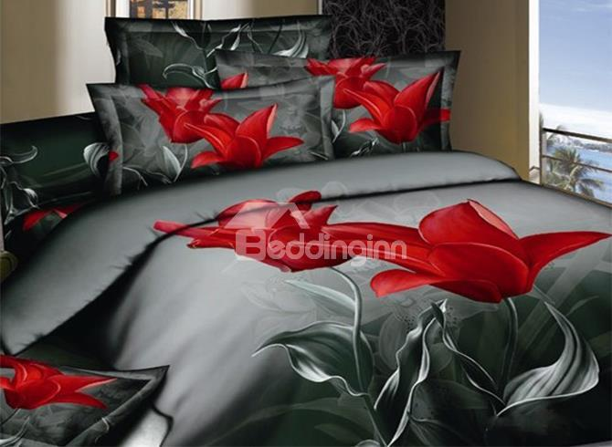 New Arrival Top Class Cotton Elegant Tulip Print 4 Piece Bedding Sets