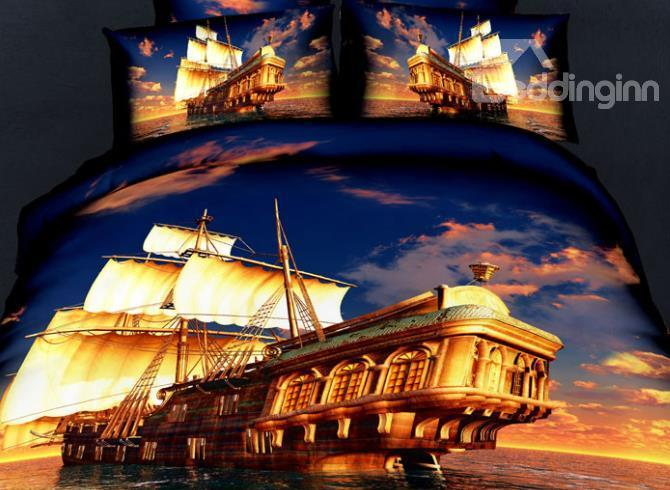 New Arrival 100%Cotton Great Fan Of The Ship Voyage 4 Piece Bedding Sets/Duvet Cover Sets