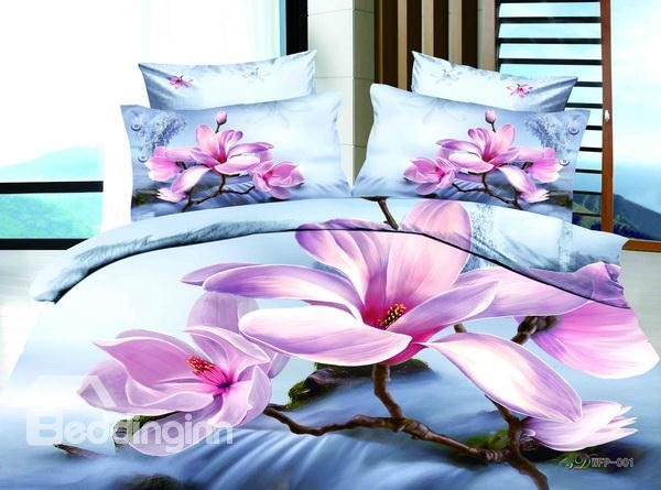 New Arrivals Romantic Pink Flowers With High Quality Cotton 4 Pieces Bedding Sets
