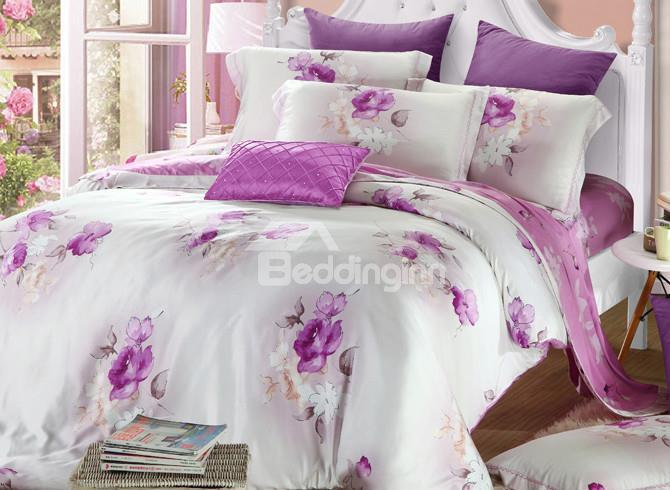 High Quality European Style Purple Floral 4 Pieces Tencel Bedding Sets