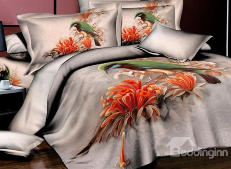Green Bird And Orange Flower Print 4-Piece Cotton Duvet Cover Sets