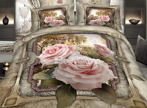 New Arrival Luxurious Pink Roses And Floral Borders Print 4 Piece Bedding Sets