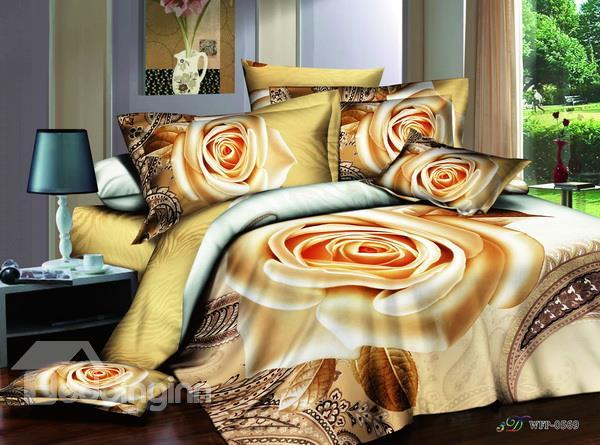 New Arrival Gorgeous Luxury Blooming Rose 4 Piece Bedding Sets/Duvet Cover Sets