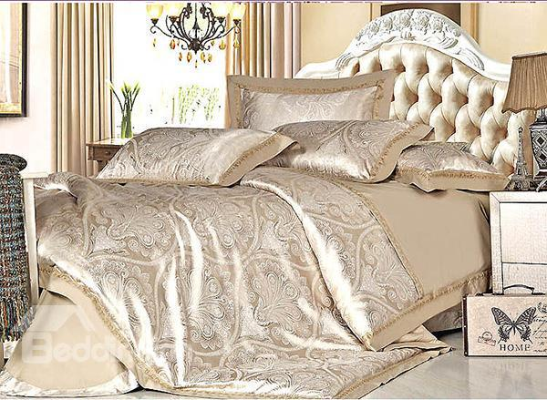 Noble Camel Floral Pattern 4-Piece Silky Duvet Cover Sets