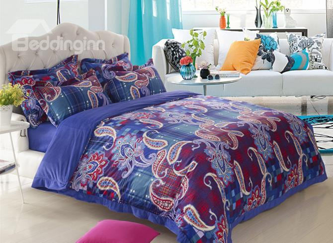 Fashionable Artistic Pattern Print Sandedcloth Material 4 Piece Bedding Sets