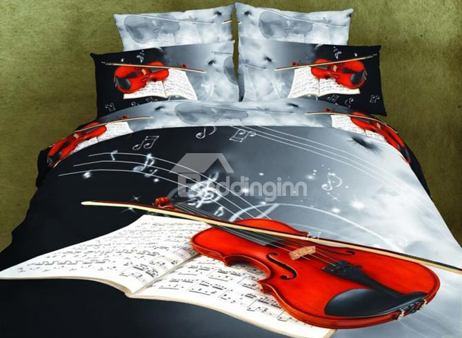 High Quality Violin Print 4 Pieces Polyester 3d Bedding Sets