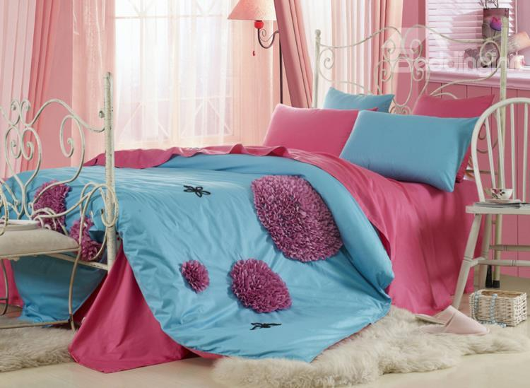 New Arrival Beautiful Blue Color Pink Discoid Flower 6 Piece Bedding Sets With Fitted Sheet