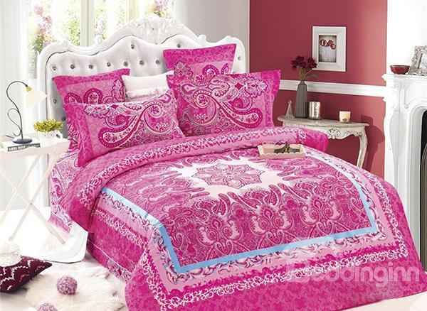 Luxury Court Style Pink Flower Pattern 4-Piece Cotton Duvet Cover Sets