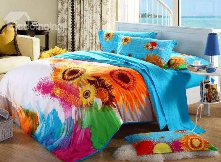 Amazing Pretty Sunflower Printing 4-Piece Cotton Duvet Cover Sets