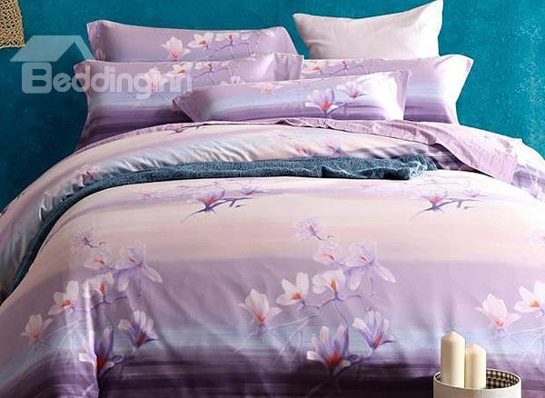 Elegant Purple Magnolia Print 4-Piece Soft Cotton Duvet Cover Sets