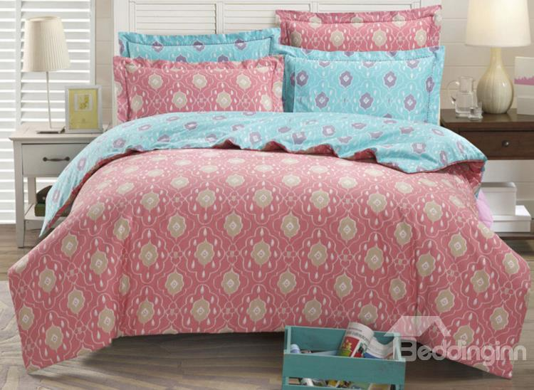 The Love Of Babylon Floral Pattern 4-Piece Cotton Duvet Cover Sets
