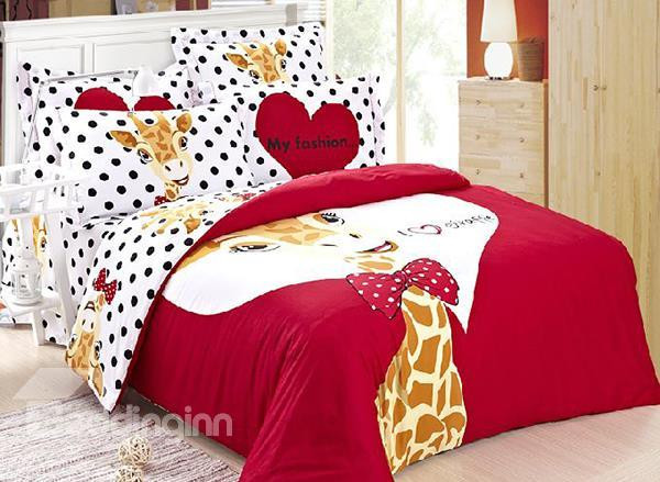 The Giraffe Prince Print 4-Piece 100%Cotton Duvet Cover Sets