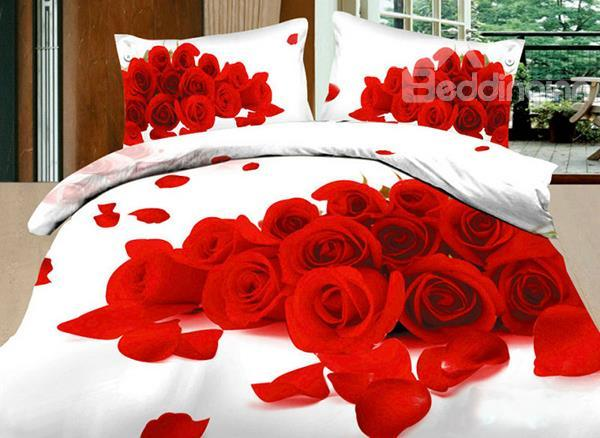 3d High Quality Sexy Rose Bunch 4 Piece Bedding Sets/Duvet Cover Sets