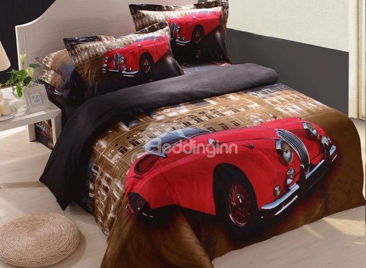 New Arrival Lovely Red Classic Car Print 4 Piece Bedding Sets