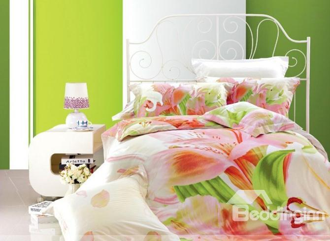 Fresh Flowers And Green Leaves Of Printed 4 Piece Cotton Bedding Sets 10489932)